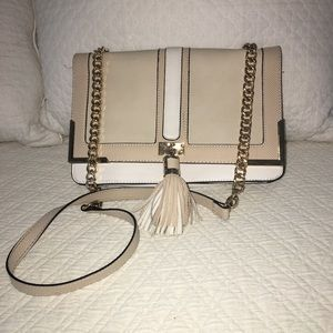 Nude colored crossbody purse
